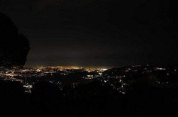 Night view towards Cannes and Antibes